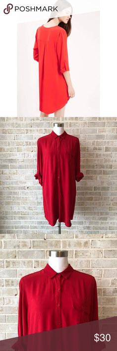 Topshop Tunic Dress Size 6 Small Red Button Front • Brand:Topshop • Size:6 • Material: See picture of tag in photos • Previously owned, excellent used condition  • Length 33 Bust 20 • Other info: red tunic dress with button rolled sleeves  •Inventory id:2434 Topshop Dresses