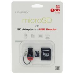 Unirex MicroSD High Capacity 8GB Class 10 with SD Adapter and USB Reader