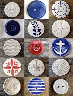 All about handmade! Beautiful handmade cards, handcrafted jewellery, handmade beads, handmade carpet, handmade christmas trees and more. Cool Buttons, Types Of Buttons, Diy Buttons, Vintage Buttons, Button Art, Button Crafts, Ceramic Jewelry, Ceramic Beads, Handmade Beads