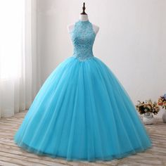 Blue Halter Ball Gown Prom Dress Lace Applique