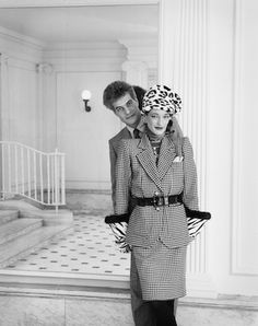 Loulou de la Falaise  in full Saint Laurent regalia in a New York lobby and Thadee Klossowki.  Photo by Priscilla Rattazzi.  Interview, April 1984.