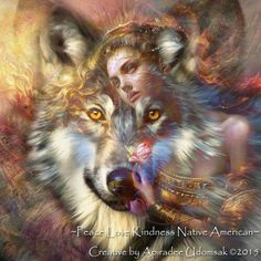 Girl and wolf Native American Pictures, Native American Artwork, American Indian Art, Native American Indians, Wolf Images, Wolf Photos, Wolf Pictures, Animal Spirit Guides, Wolf Spirit Animal