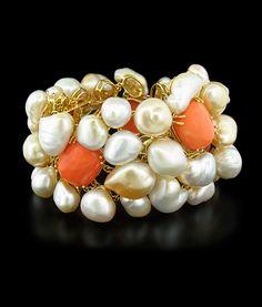 Margot McKinney Coral and Keshi Pearls Bracelet (=)