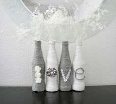 I came across this type of idea a long time ago on Pinterest where someone had wrapped bottles with twine.  I absolutely loved the look a...