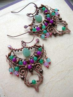 Wire Wrapped Eastern earrings - Copper Statement Earrings - Arabic Moroccan Gypsy Earrings - Dangle Chandelier Ornate Bohemian Earrings