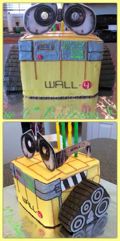 """Wall-E Birthday cake for 4 year old 8"""" cube cake, with 8"""" square cake cut diagonally and turned on cut sides for the tracks. Covered and decorated with colored vanilla buttercream icing. Laminated printout Wall-E glasses used for eyes/cake topper/birthday boy favor."""