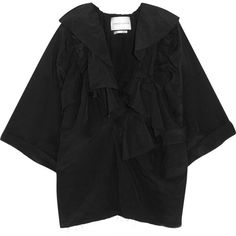 Carmen March Carmen March - Ruffled Taffeta Top - Black (€760) via Polyvore featuring tops, black, slimming tops, roll top, ruffle top, cut loose tops and loose fitting tops