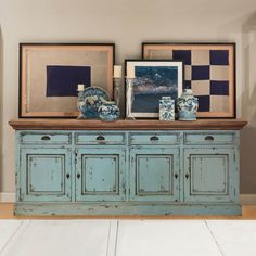 Showcasing simplicity, the Scranton Ocean Blue Two Tone Solid Wood 4 Drawer Extra Long Sideboard Cabinet is a functional and sturdy piece of furniture f. Solid Wood Furniture, Handmade Furniture, Painted Furniture, Furniture Refinishing, Funky Furniture, Antique Furniture, Bedroom Frames, Wood Bedroom Sets, Bedroom Furniture