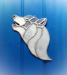 Stained glass wildlife home howling wolf animal glass art