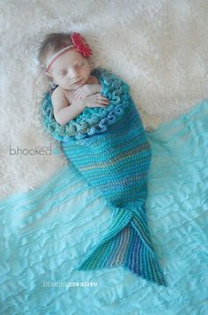 Mystic Mermaid Cocoon - This adorable pattern is perfect for a newborn photo shoot.