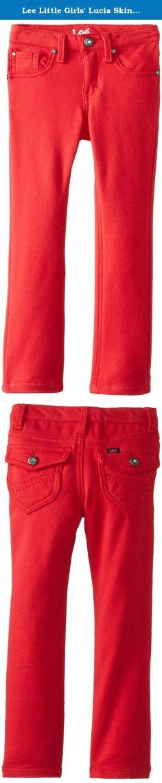 Lee Little Girls' Lucia Skinny Flap Pocket Knit Jean, Flame, 5. Lee skinny knit pant with back flap pockets.