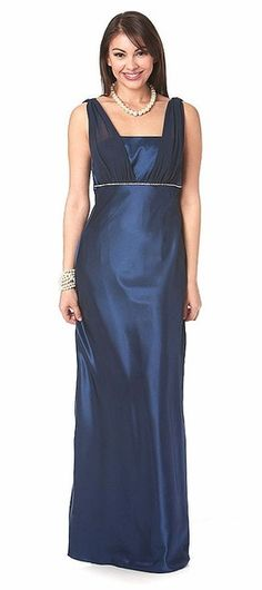 Plus Size Navy Blue Bridesmaid Dress Long Charmeuse/Chiffon Wide Straps Rhinestones Navy Blue Bridesmaid Dresses, Navy Blue Dresses, Semi Formal Dresses, Elegant Dresses, Beautiful Dresses, Nice Dresses, Choir Dresses, Chiffon Shoulder, Vestidos