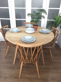 Ercol Blonde Elm Mid Century Drop Leaf Dining Table And 4 Windsor
