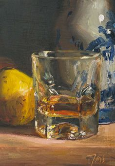 daily painting titled Irish whisky with quince and Delft vase - click for enlargement