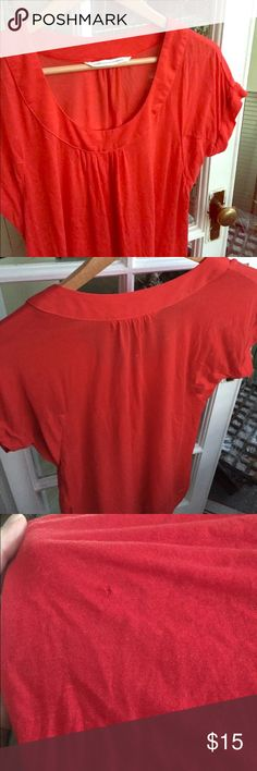 🆕DVF Red Blouse Silky soft tee, no fabric label but feels like a silk/cotton blend. Pretty eye-catching poppy red. Has a small hole at shoulder and one on front side as shown in last pictures. Bundle with any other item for an additional 10% off! Diane von Furstenberg Tops Tees - Short Sleeve