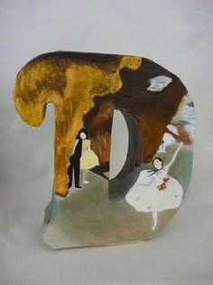 Art History lesson for high school (duplicated a Degas painting) build a 3D letter for the artistist's last name then paint