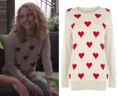 "Carrie wears this sweater with red hearts for The Carrie Diaries' Valentine's episode ""Date Expectations"". Some of the hearts ev..."