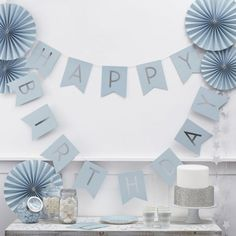 Baby Blue Birthday Bunting | The Original Party Bag Company