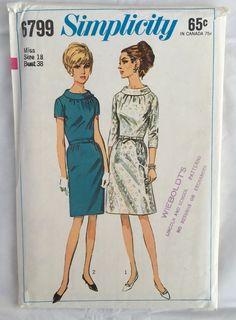 "Simplicity 6799 Vtg 1960s Roll Collar Belted Dress Size 18 Bust 38"" UNCUT #Simplicity #vintagepattern"