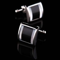 Black Mother Of Pearl Centered Cufflinks