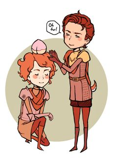 """tek-kie: """" Renly placing a peach on Loras' head. Or taking it? I don't know. """"He took a song and a peach, and left me nothing but a juice-stained cloak."""" """""""