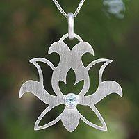 'Lotus Purity' by Jantana - Fair Trade Blue Topaz Flower Necklace Metal Jewelry, Pendant Jewelry, Silver Jewelry, Jewelry Necklaces, Silver Ring, Jewellery, Jewelry Box, Pendant Necklace, Stone Necklace