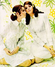 Doll like white shirt dresses paired with equally charming, girly hairstyles from 1968.