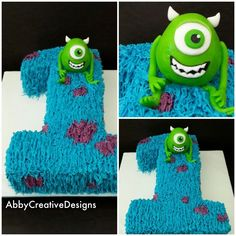 Monster inc birthday cake Obviously, we want it in the shape of a 7