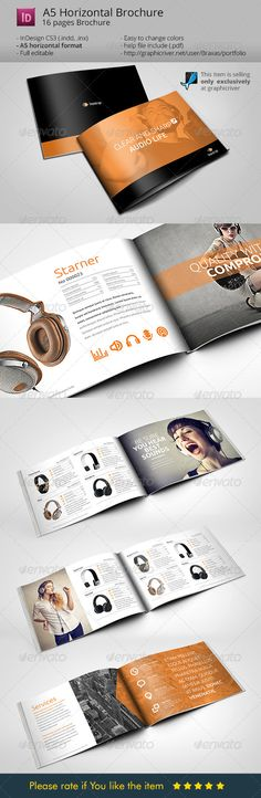 Horizontal Brochure A5 Audio Life  — InDesign Template #catalogue #braxas • Download ➝ https://graphicriver.net/item/horizontal-brochure-a5-audio-life/7818468?ref=pxcr