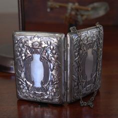 1900 Silverplated Art Nouveau Floral Repousse Design Coin Dance Compact Purse.Mirror.Antique.Vintage by My3SonsVintage on Etsy