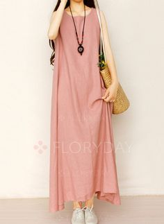 Dresses - $40.99 - Cotton Solid Sleeveless Maxi Casual Dresses (1955137055)