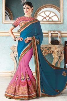 Blue and pink Georgette Saree With Art silk Blouse Blue and pink georgette saree with beige and maroon art silk blouse.  Embellished with embroidered, resham, zari and stone.  Saree comes with boat neck blouse.  Product are available in 34,36,38,40 sizes. It is perfect for festival wear, party wear and wedding wear.