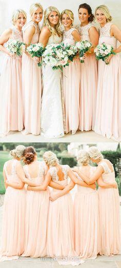 Pearl Pink Bridesmaid Dresses, Long Bridesmaid Dresses, Chiffon Lace Bridesmaid Dresses, Elegant Bridesmaid Dress