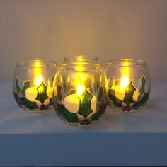 Candle Holders, Hand Painted, Candles, Glass, Drinkware, Corning Glass, Porta Velas, Candy, Candle Sticks