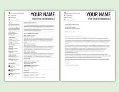 Page Resume Template For Word With Cover Letter Instant