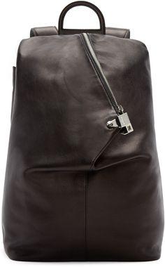 4c7b0fe139 Wooyoungmi - Black Leather Triangular Backpack Mens Designer Backpacks