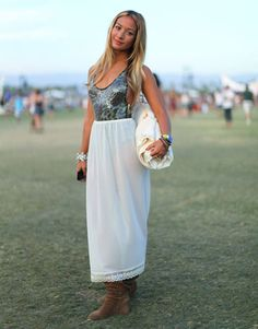 Metallics mix well with a prairie-style white maxiskirt.    Read more: Coachella Fashion 2011 - Coachella 2011 Fashion and Style Pictures - Harper's BAZAAR