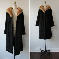 1950s Mink and Lambswool coat | vintage 50s mink and lambswool coat | vintage fur coat | blonde mink | The Annis Fur by VivianVintage8 on Etsy