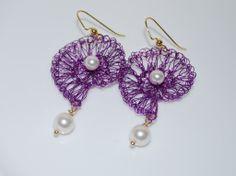 Crocheted Wire Shell Earrings, Amethyst Wire Crochet Earring, White Pearl on Amethyst Shell Earrings, Crochet Wire Jewelry, Amethyst. $35.99, via Etsy.