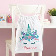 Unicorn Drawstring Backpack Princess Girls  Swim Kids Shoes Party Bag Backpack E