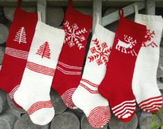 FOR 2016 Hand knit Christmas Stocking Grey by KnittingsWithSense