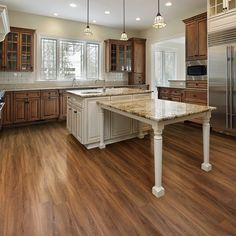 Luxury Kitchens Le Dalmar Nature Creations Plus x x Luxury Vinyl Plank in Sunshine Cuisines Diy, Cuisines Design, Luxury Kitchens, Cool Kitchens, French Kitchens, Country Kitchens, White Kitchens, Kitchens With Wood Floors, Best Flooring For Kitchen