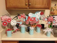 volleyball banquet or senior night table decorations Volleyball Decorations, Volleyball Crafts, Volleyball Party, Banquet Decorations, Locker Decorations, Volleyball Mom, Volleyball Quotes, Banquet Ideas, Sports Banquet Centerpieces