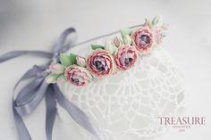 Feminine floral headband, handmade pink and grey flower crown, prom jewelry, wedding jewelry, hair jewelry, gift women, bridal headband by TreasureAM on Etsy https://www.etsy.com/listing/214124796/feminine-floral-headband-handmade-pink