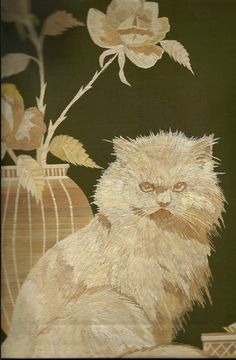 Cat and Flowers made out of dried leaves of rice plant by museumshop, $89.00  Ancient leaf art