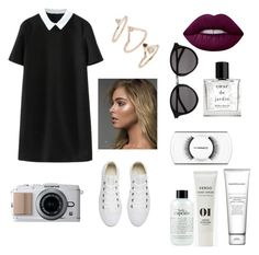 """Black and white"" by yumary-v on Polyvore featuring moda, Yves Saint Laurent, Miller Harris, MAC Cosmetics, philosophy, Verso, Bare Escentuals, Converse, Topshop y Lime Crime"