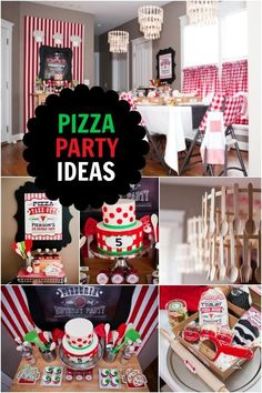 Boy's Pizza Party Ideas. Dessert, favors, menu ideas, and more!