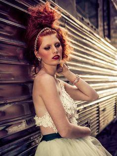 Maria Elena Headpieces 2015 Fashion Campaign .. Photography by @stianroenning / Dress by @edgardobonilla / hair  Make-up by @sidneyjamila