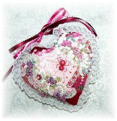 Pink Heart Crazy Quilt Door Pillow