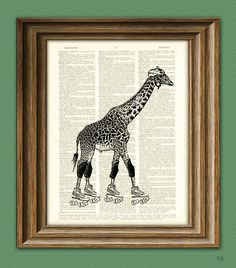 Roller Derby Queen Giraffe on skates altered art dictionary page illustration book print. $7.99, via Etsy. collageOrama
